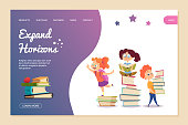 Expand horizons vector concept. Reading landing page template. Cartoon kids read books and education new knowledge, girl and boy learning illustration