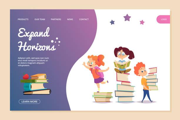 수평선 벡터 개념을 확장합니다. 방문 페이지 템플릿 읽기. 만화 아이들은 책을 읽고 - reading stock illustrations