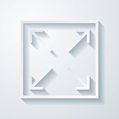 istock Expand. Icon with paper cut effect on blank background 1322707684
