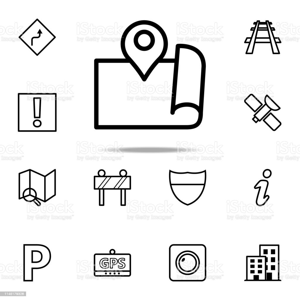 Expanded Map With Pin Icon Navigation Icons Universal Set For Web And  Mobile Stock Illustration   Download Image Now