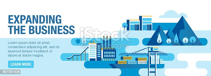 Expanding business vector banner illustration also contains icons for the topic.