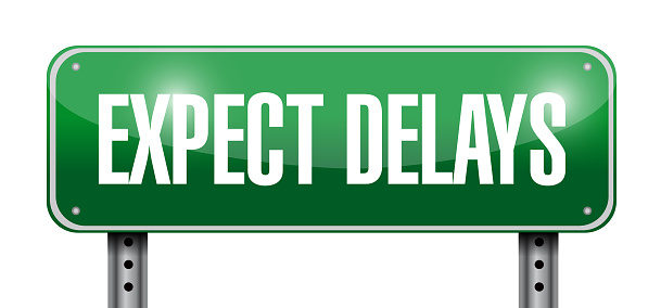 Expect delays sign illustration design over a white background