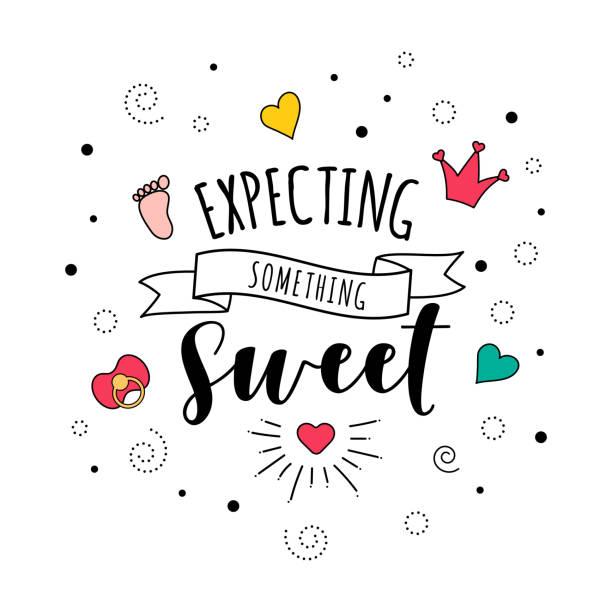 ilustrações, clipart, desenhos animados e ícones de esperando algo doce gravidez citar letras - novo bebê