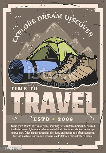 Time to travel and expedition, retro vector design. Touristic tent, hiking boots and sporting mat with straps to backpacking. Mountains and sport equipment, sneakers shoes and canopy temporary home