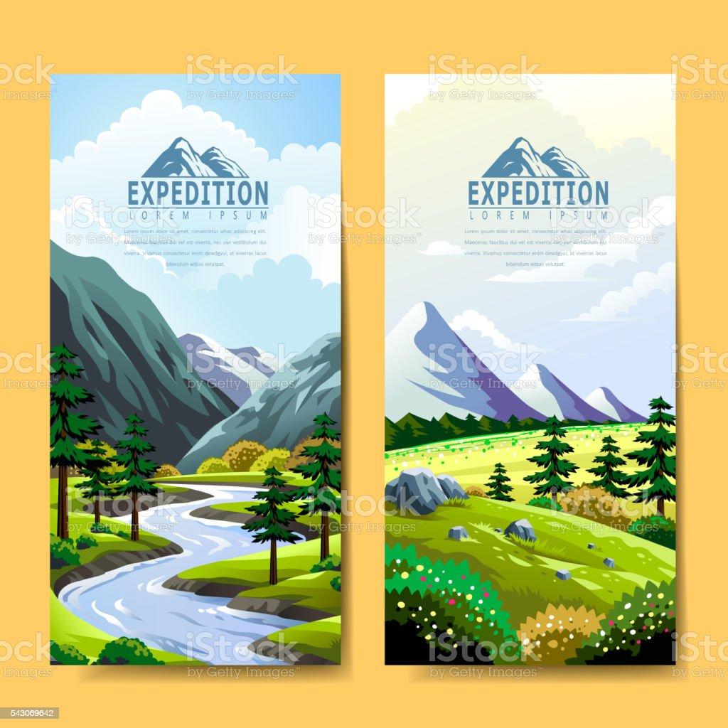 Expedition banner design vector art illustration