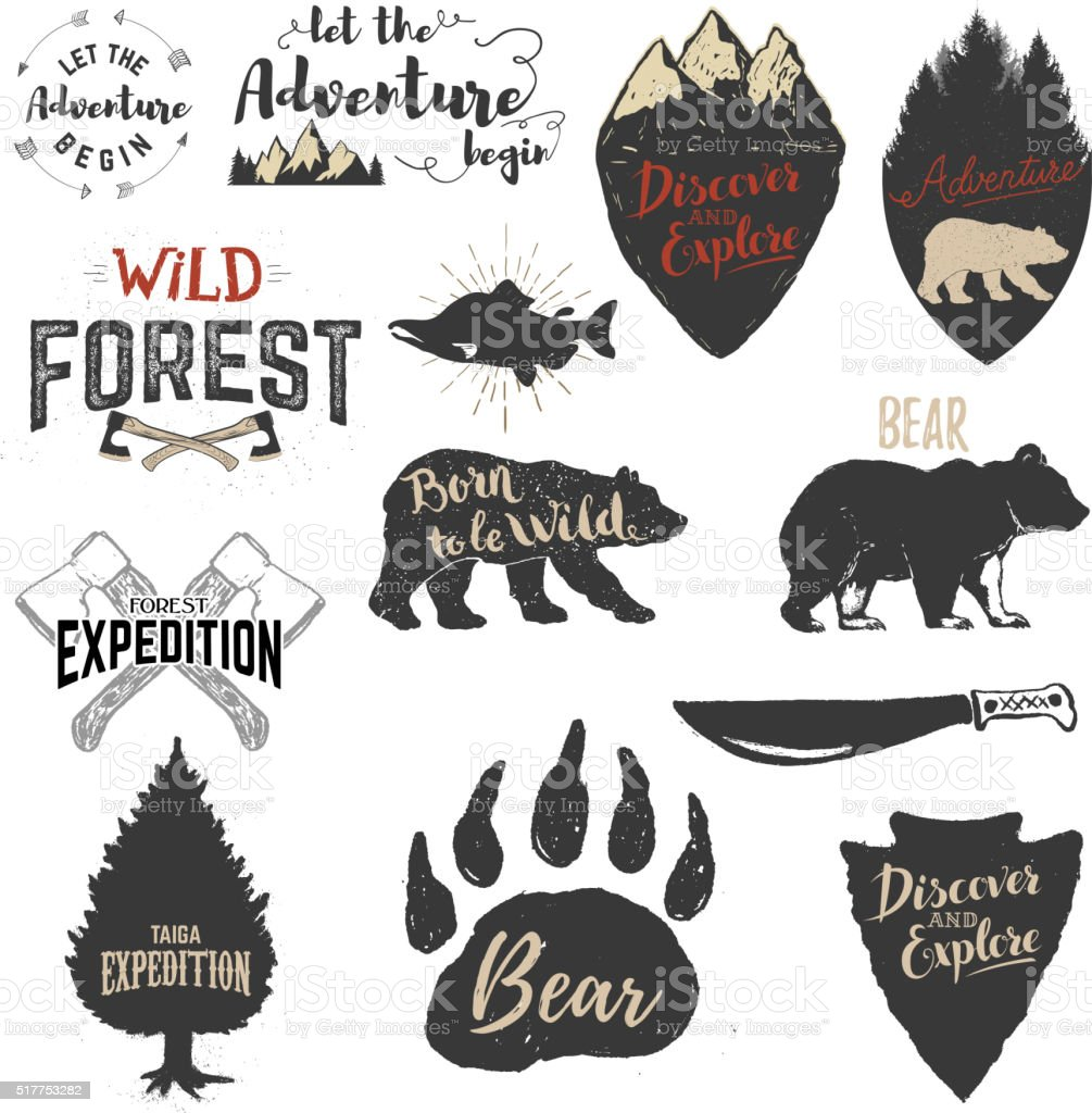 Expedition, discover, adventure labels and emblems. vector art illustration