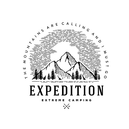 Expedition extreme camping circle white Vector illustration