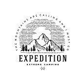 Expedition symbol emblem vector illustration. Outdoor adventure expedition, shirt, print stamp. Vintage typography badge design. Vector illustration