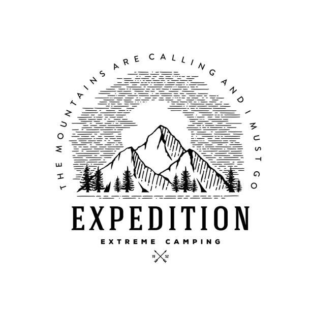 ilustraciones, imágenes clip art, dibujos animados e iconos de stock de expedición extremo camping círculo blanco ilustración vector - mountain top