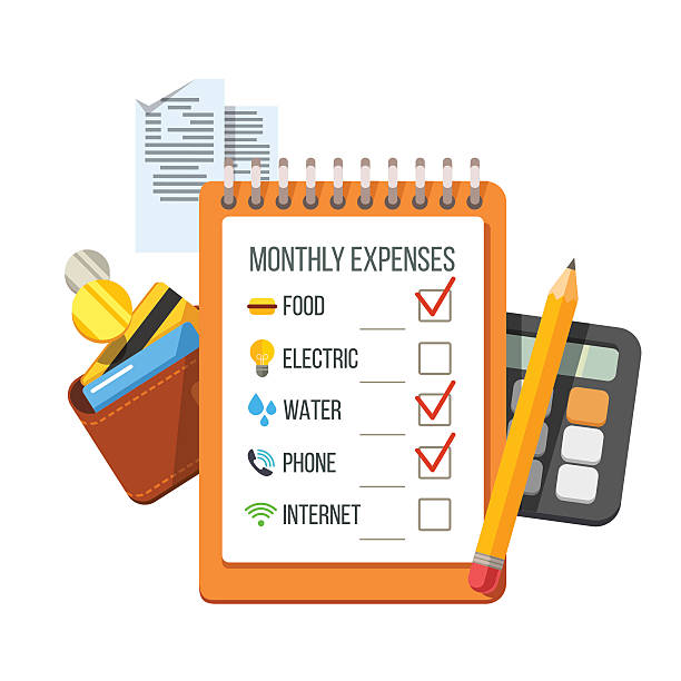 Expenses checklist, receipts, wallet, calculator Monthly expenses planning checklist with receipts, wallet and calculator. Flat style vector icon illustration. budget backgrounds stock illustrations