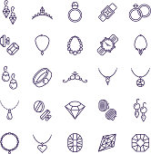 Expensive gold jewelry with diamond vector line icons and wedding accessories symbols