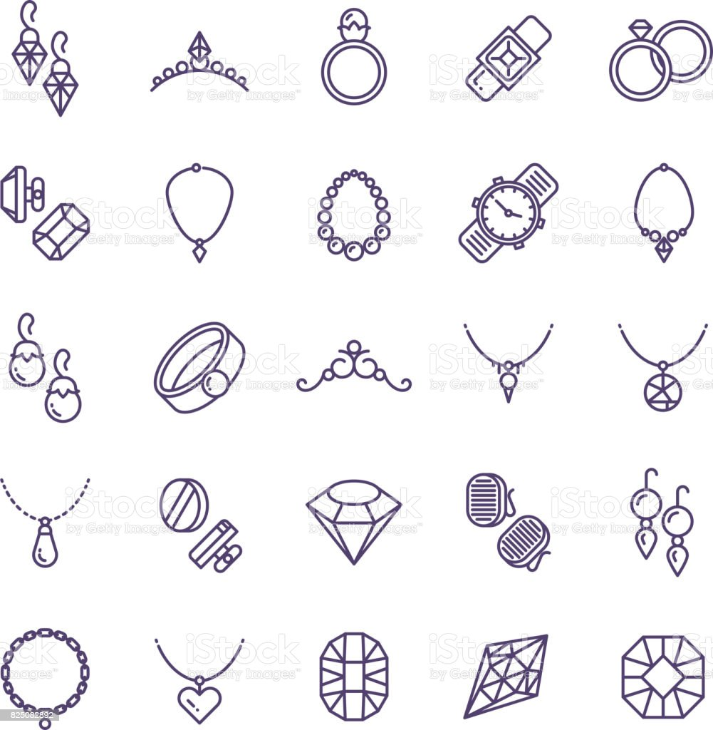 Expensive gold jewelry with diamond vector line icons and wedding accessories symbols vector art illustration