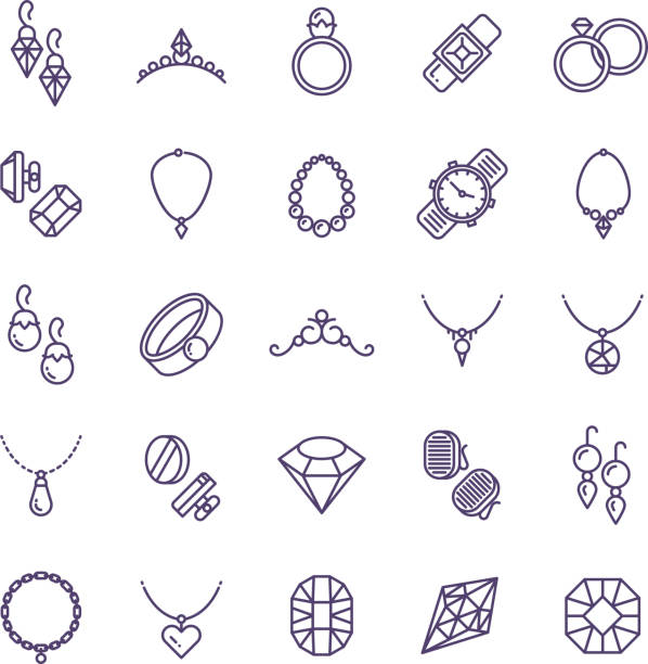 expensive gold jewelry with diamond vector line icons and wedding accessories symbols - jewelry stock illustrations