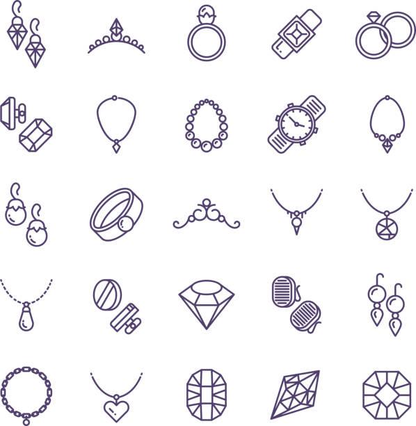 teuren goldschmuck mit diamant-vektor-linie-icons und symbole hochzeit zubehör - schmuck stock-grafiken, -clipart, -cartoons und -symbole