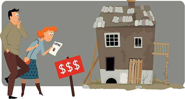 Expensive housing Shocked couple looking at a high price label of a run down small house, vector illustration, ESP 8, no transparencies bad condition stock illustrations