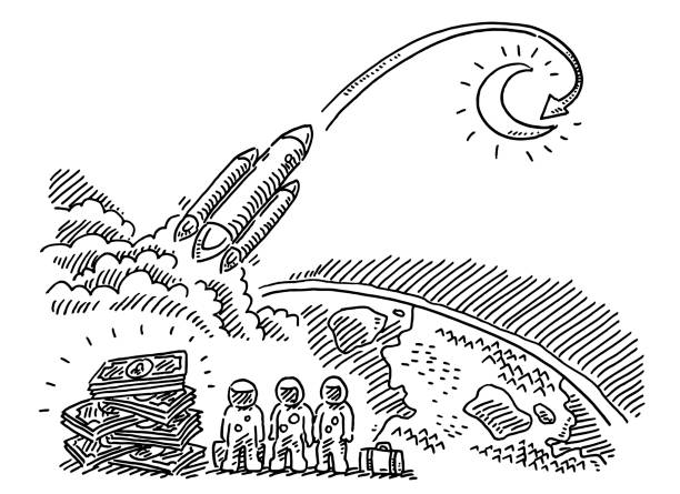 Expensive Travel To The Moon Drawing Hand-drawn vector drawing of an Expensive Travel To The Moon. Black-and-White sketch on a transparent background (.eps-file). Included files are EPS (v10) and Hi-Res JPG. cartoon character figure stock illustrations