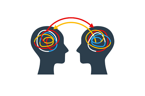 Human heads with colorful lines. Experience and knowledge exchange concept. Vector illustration. Brain as tangled knot or scribbles. Dialog or dispute infographics, business project development