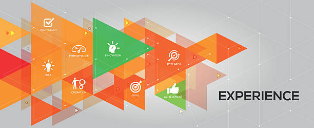Experience banner and icons vector art illustration