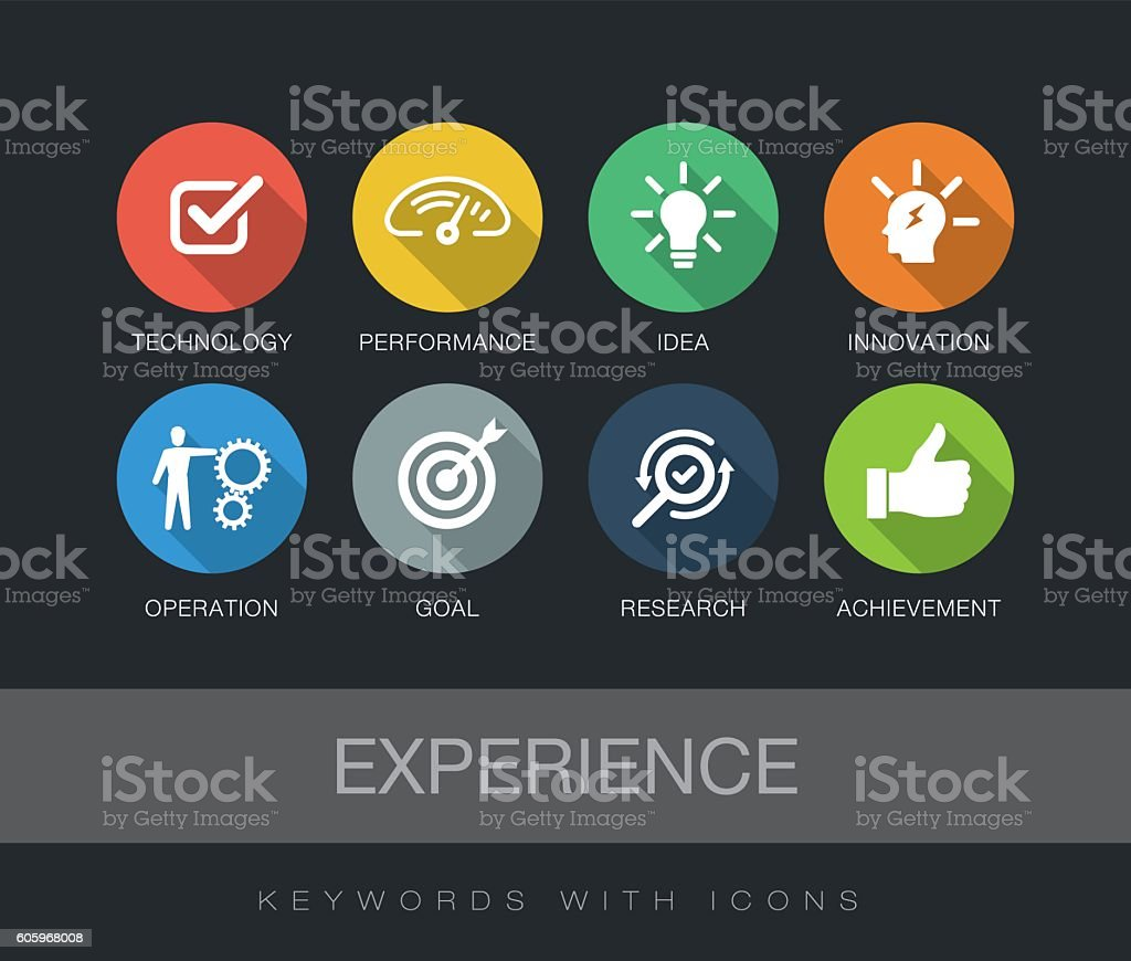 Experience keywords with icons vector art illustration