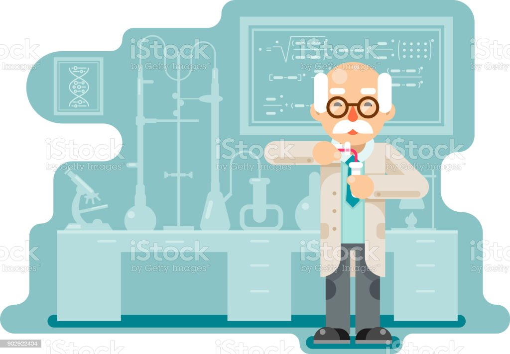 Experiment old wise smart scientist chemical laboratory transfuse chemical reagents test tubes flat design vector illustration vector art illustration