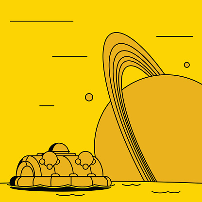 Experimental floating craft on the surface of the moon titan, with the planet Saturn and its rings orbiting in the background. Flat and bold design with bright monochrome colors and sharp black shadows. Bright yellow.