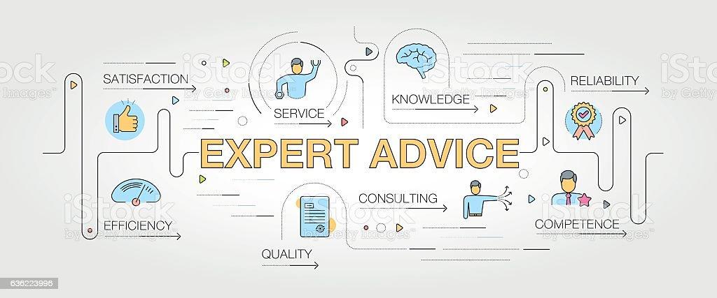 Expert Advice banner and icons - ilustração de arte em vetor