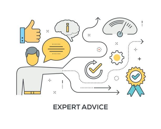 ilustrações, clipart, desenhos animados e ícones de conceito de conselho perito com ícones - assistente jurídico
