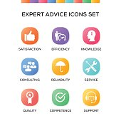 Expert Advice Icons Set on Gradient Background