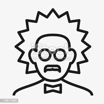 Vector illustration. Expert or scientist icon. Lineal geometric style.