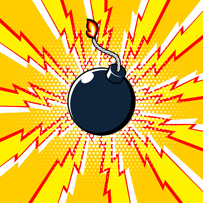 Bomb icon on exploding effect. Vector symbol.