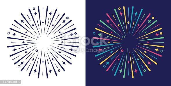 Explode burst colorful design line explosion graphic element.