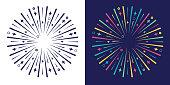 Explode burst colorful design line explosion graphic element.