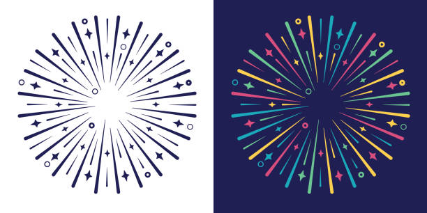 Explode Burst Circle Design Element Explode burst colorful design line explosion graphic element. political party stock illustrations