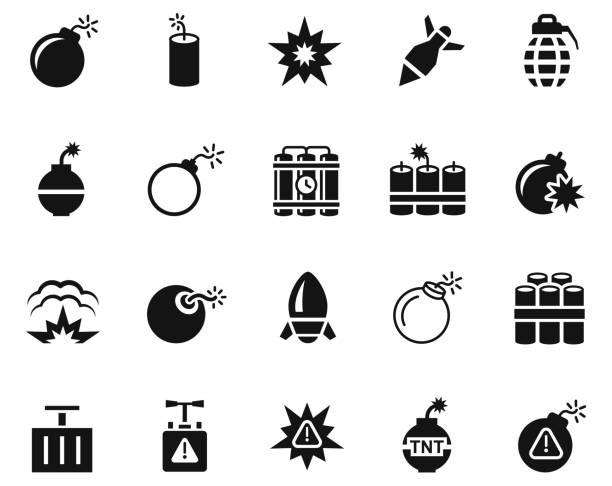 bildbanksillustrationer, clip art samt tecknat material och ikoner med explodera ikon uppsättning - krig