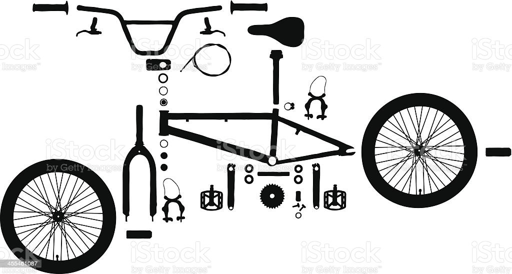 Exploded Bicycle vector art illustration