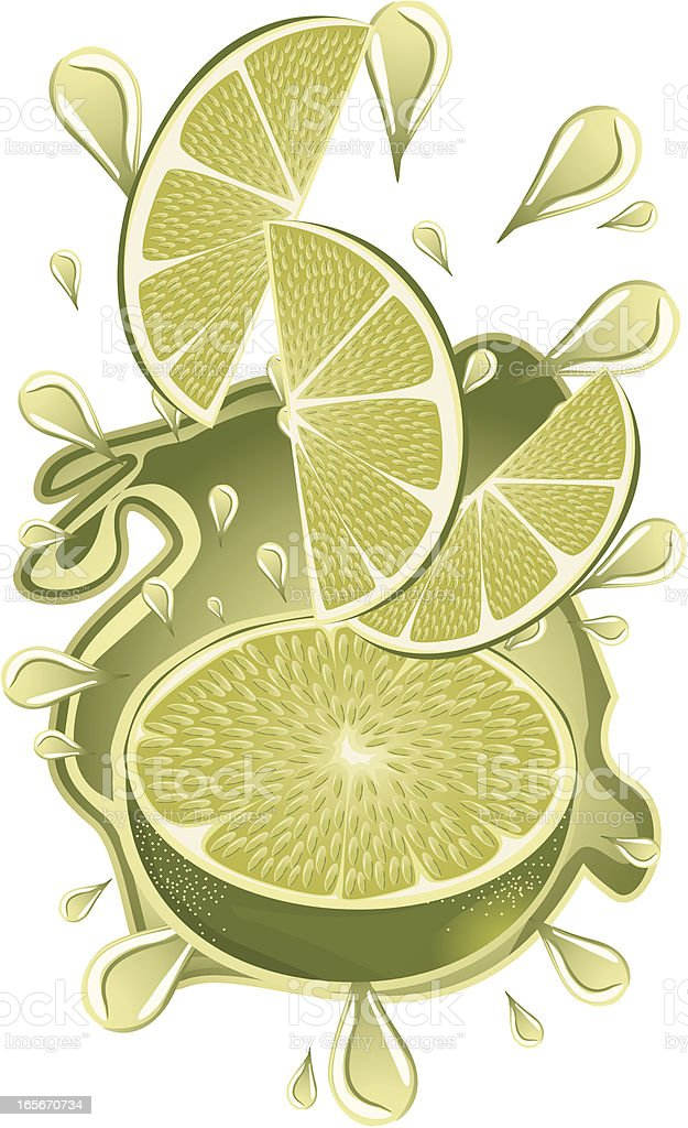 Exploded lime royalty-free stock vector art