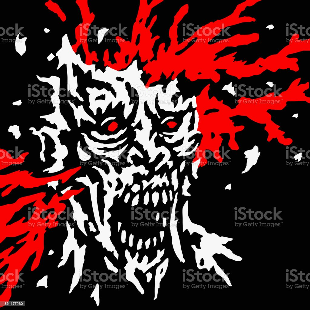 Exploded zombie head with splashes of blood and skull splinters. Vector illustration. royalty-free exploded zombie head with splashes of blood and skull splinters vector illustration stock vector art & more images of apocalypse