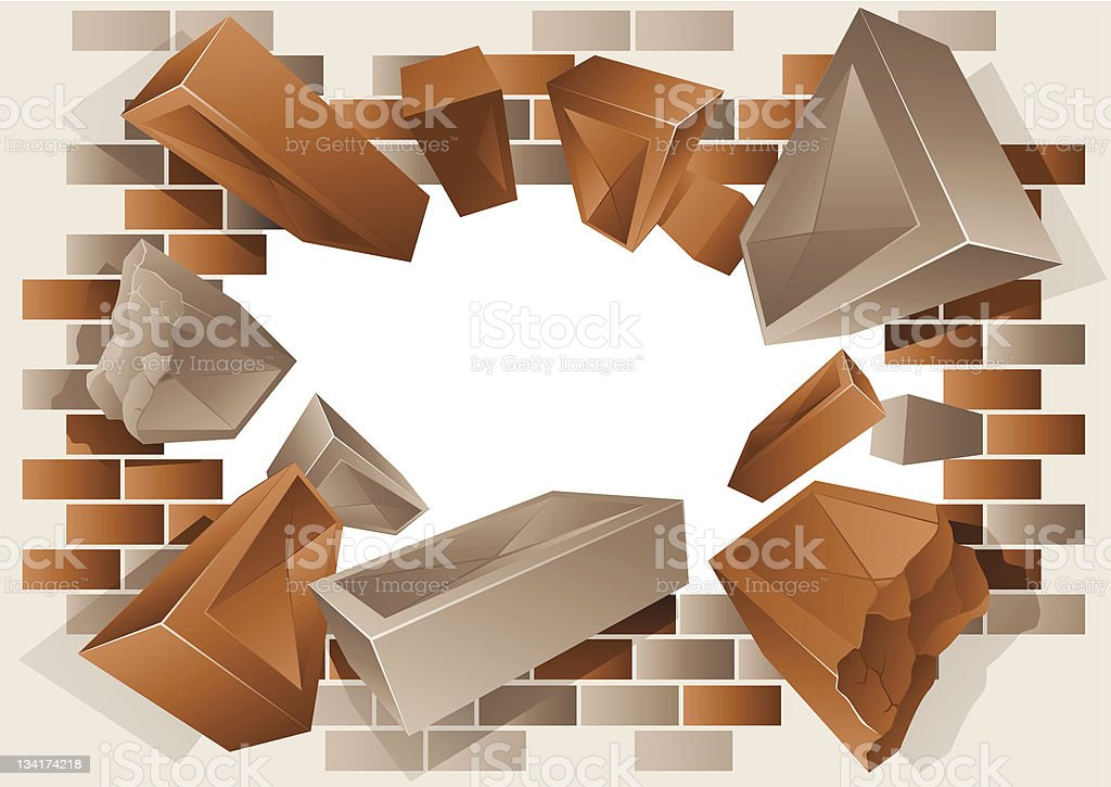 Exploding Brick Wall vector art illustration