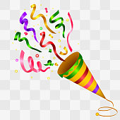 Vector illustration of Exploding Colorful Confetti Popper background