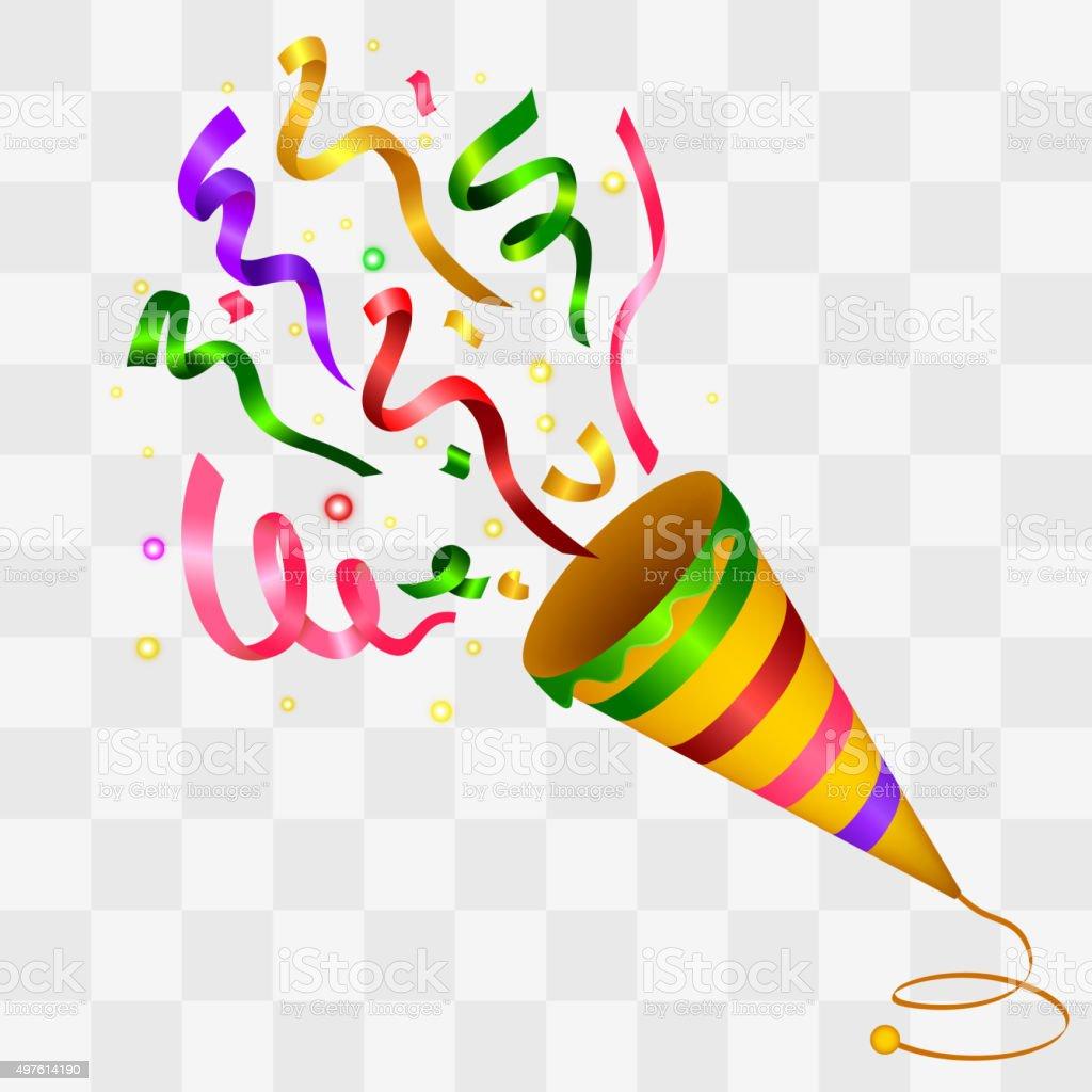 Exploding Colorful Confetti Popper background vector art illustration