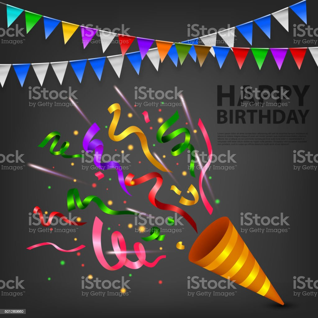 Exploding Confetti Popper birthday party vector art illustration