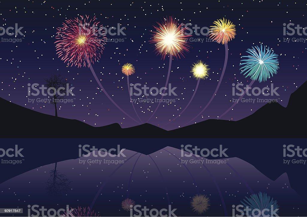 Explodieren Feuerwerk über ein noch lake (Vektor & jpeg – Vektorgrafik