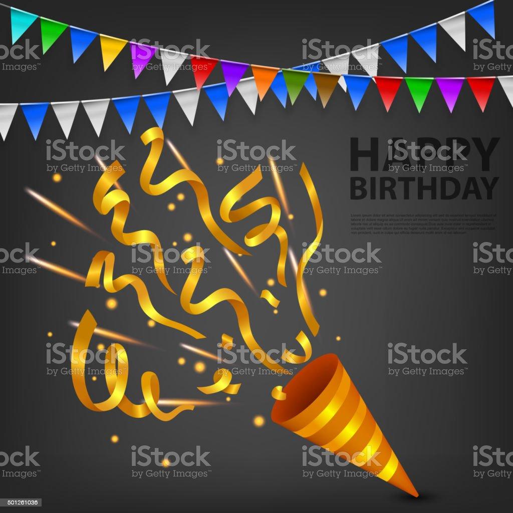 Vector Illustration Of Exploding Gold Confetti Popper birthday party