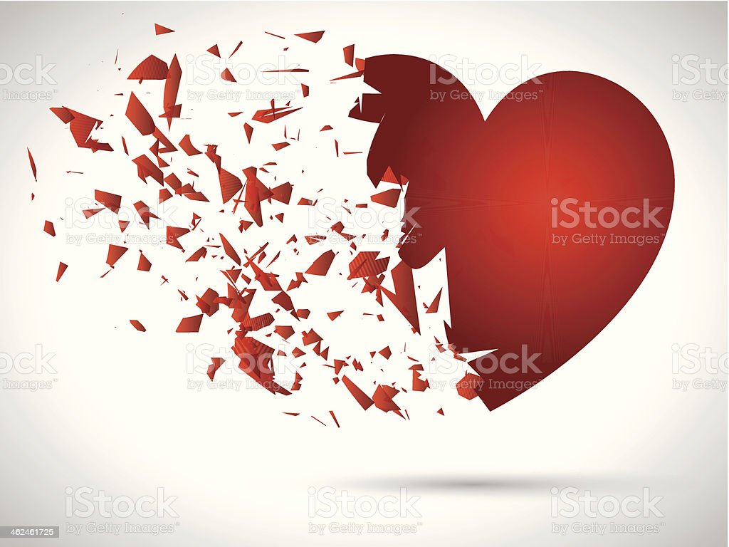 Exploding heart vector art illustration