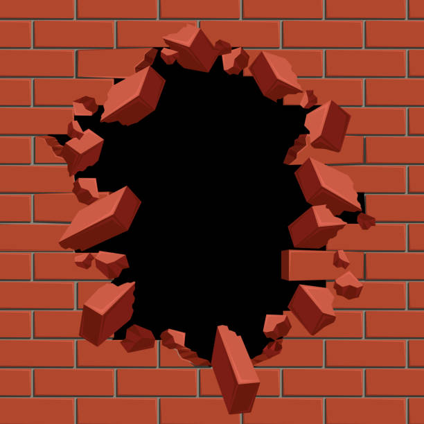 Exploding out hole in red brick wall vector illustration vector art illustration