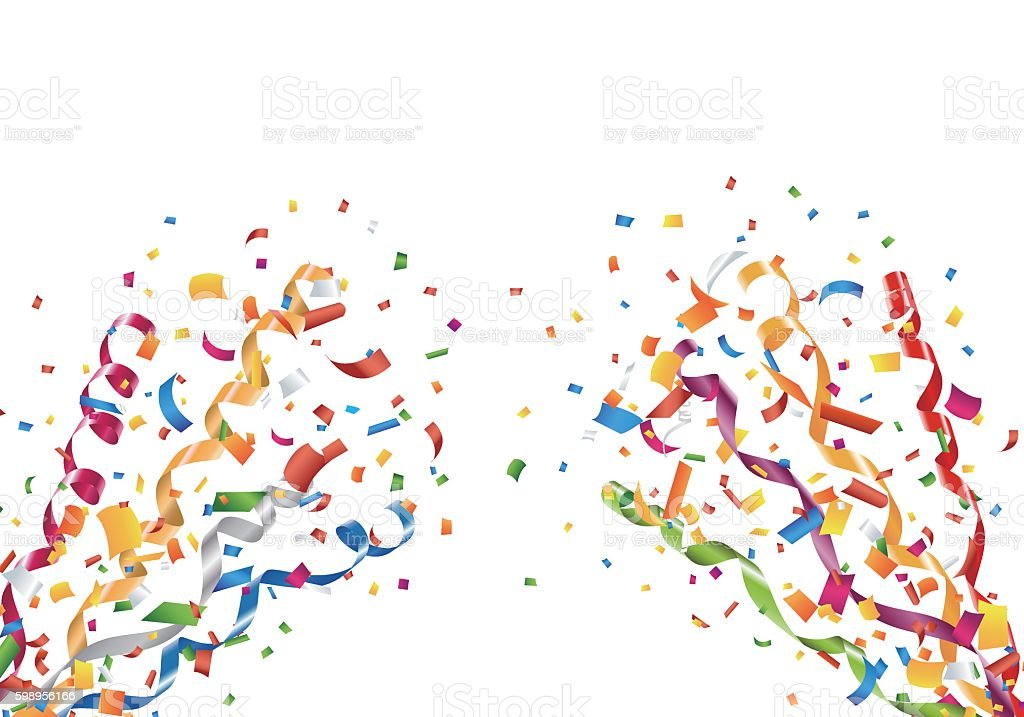 Exploding party confetti and streamers vector art illustration