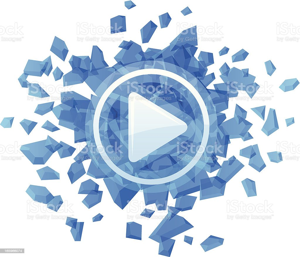Exploding Play Button royalty-free stock vector art