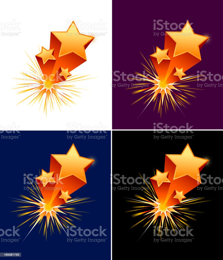 Exploding stars vector art illustration