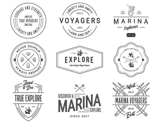 Exploration Sea Badges Exploration vector Sea Badges exploration stock illustrations