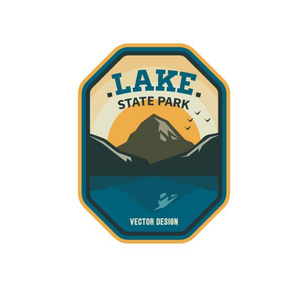 stockillustraties, clipart, cartoons en iconen met exploratie toerisme embleem, logo ontwerp. lake park reizen sticker - patchwork